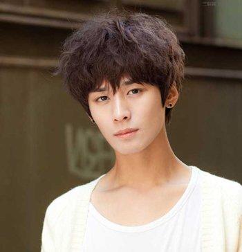 男生齐刘海饱满烟花烫中短发发型图片
